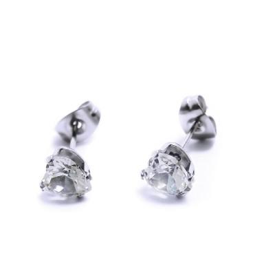 Ocelové Náušnice - Bílé Srdíčka / Crystals / white (6358)