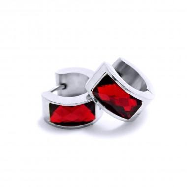 Ocelové náušnice EXEED - Lesklé Kroužky / červená / 1,4 mm (6263)