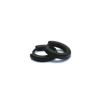 Ocelové náušnice EXEED - Kroužky / Černé 1,1 cm (42031)
