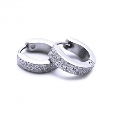 Ocelové náušnice EXEED - Kroužky Pískované 1,3 cm (v2020)