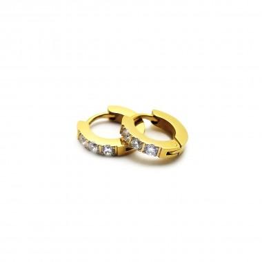 Ocelové náušnice EXEED - Kroužky Zlacené 1 cm / Bílé Kameny (40654)
