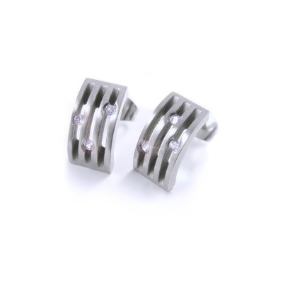 Ocelové náušnice EXEED - 3 Kameny / Matt / Stones (2475)
