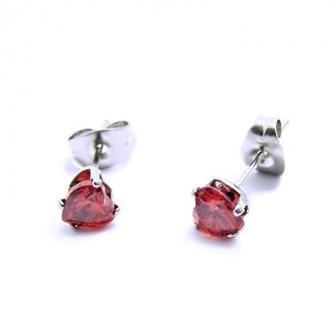 Ocelové Náušnice - Červené Srdíčka / Crystals / Red (5570)