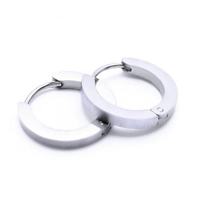 Ocelové náušnice - Kroužky / lesk / Vybrušované 1,6 cm (40593)