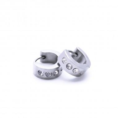 Ocelové náušnice - Kroužky 1 cm / 3 Bílé Kameny (40205)