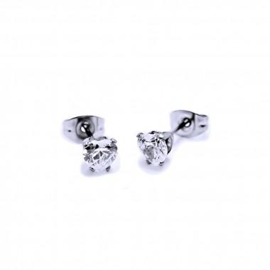 Ocelové Náušnice - Bílé Srdíčka / Crystals / white 4 mm