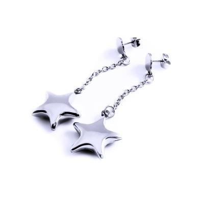 Ocelové náušnice - visací hvězdy na řetízku (3185)