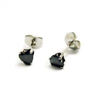 Ocelové Náušnice - Černé Srdíčka / Crystals / Black (5570)