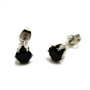 Ocelové Náušnice - Kamínek 6 mm / Černá (6187)