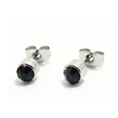 Ocelové Náušnice - Kamínek  5 mm / Černá (6293BL)