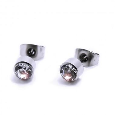 Ocelové Náušnice - Kamínek  5 mm / Bílá (6293W)