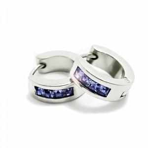 Ocelové Náušnice - Kroužky 1,4 cm / Modrofialová (6274)