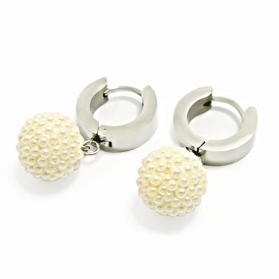 Ocelové Náušnice - Kroužky s Kuličkou / Perličky (6352)
