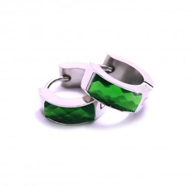 Ocelové náušnice EXEED - Lesklé Kroužky se Zeleným Kamenem / 1,4 mm (6267)