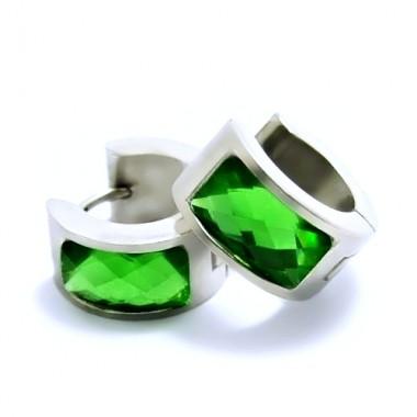 Ocelové náušnice EXEED - Lesklé Kroužky se Zeleným Kamenem / 1,4 mm (6263)