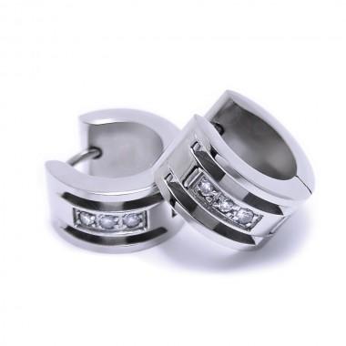Ocelové náušnice EXEED - Kroužky / 3 Kamínky / Stones 1,4 cm (6707)