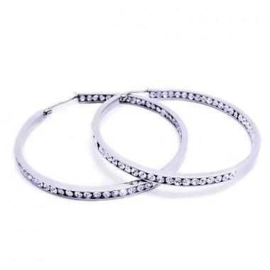 Ocelové náušnice EXEED - Kruhy / Kameny / Circle / Stones 5 cm