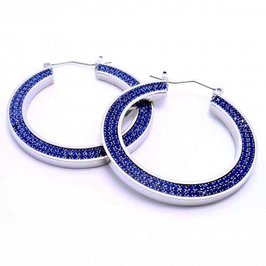 Ocelové náušnice EXEED - Kruhy / Modré kameny / Blue Stones (3805M)
