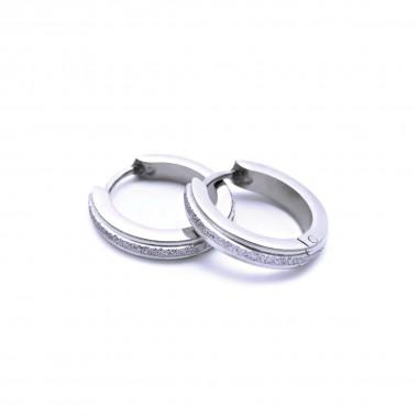 Ocelové náušnice EXEED - Kroužky / Lesk / Pískování 1,3 cm (019)