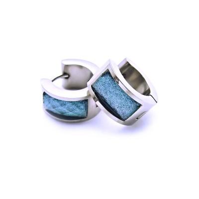 Ocelové náušnice EXEED - Kroužky s Modrým Kamínkem / Tyrkys / Třpytky 1,4 mm (6263MM)