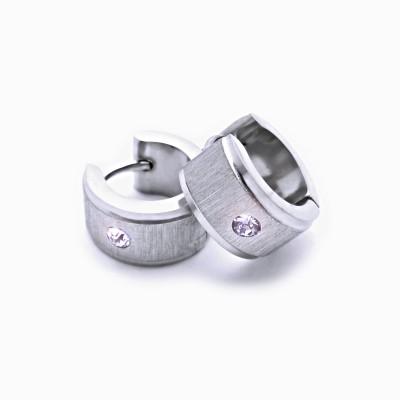 Ocelové náušnice - Kroužky 1,2 cm  s Kamínkem (6978)