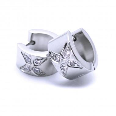 Ocelové náušnice EXEED - Lesklé Kroužky s kameny / Motylek 1,3 cm (40195)