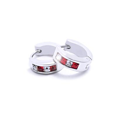 Ocelové Náušnice - Kroužky 1,4 cm / Red & White (6274 Red)