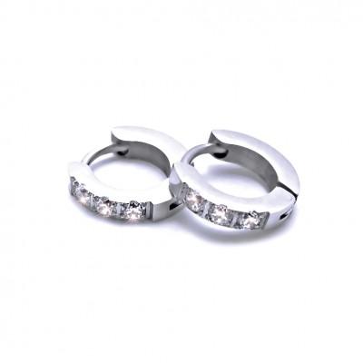Ocelové náušnice EXEED - Kroužky 1 cm / 3 Bílé Kameny (40653)