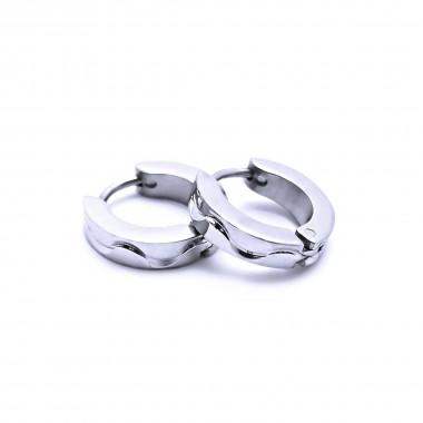 Ocelové náušnice EXEED - Kroužky / Leštěné / výbrus 1,3 cm (40936)
