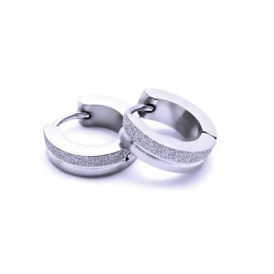 Ocelové náušnice EXEED - Kroužky / Lesk / Pískování 1,3 cm (40401)
