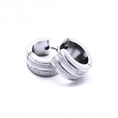 Ocelové náušnice EXEED - Kroužky / Pískování 1,3 cm (40599)