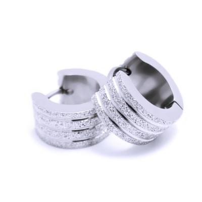 Ocelové náušnice - Kroužky Pískované 1,3 cm (6004)