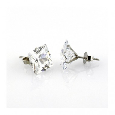 Ocelové náušnice - Square Crystal I. (W - 0,8)