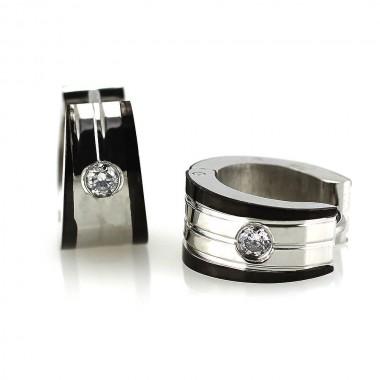 Ocelové náušnice - Kroužky s Kamínkem 1,3 mm / Stone / Shiny - Black (6013)