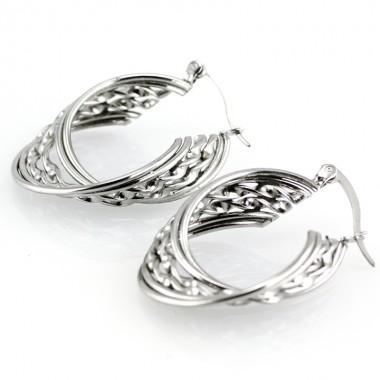 Ocelové náušnice - Kruhy / Twisted Circles 3 cm (6013)
