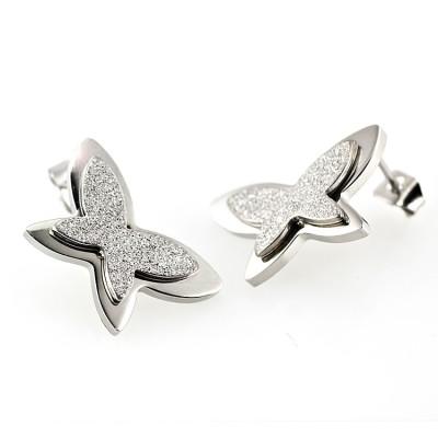 Ocelové náušnice - Pískovaní Motýlci / Butterfly (6149)