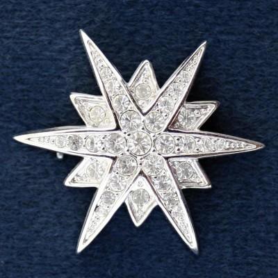 Brož - White star Swarovski comp. (09/227114)