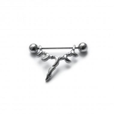 Ocelový piercing - spercíál do bradavky 02 (1,6x5mm)
