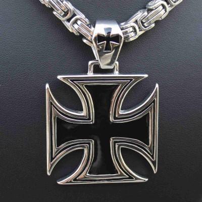 Ocelový přívěsek - Big Iron Cross IV