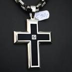 Ocelový přívěsek - Kříž s Kamenem / Cross / Black / Shiny / Stone