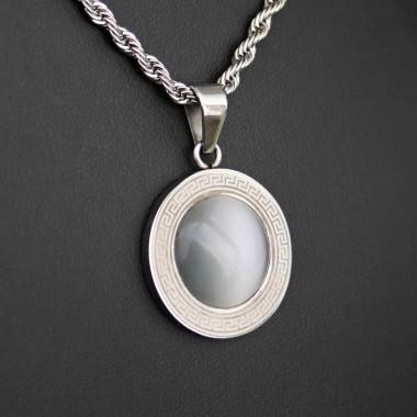 Ocelový přívěsek - Circle/Greek/ White