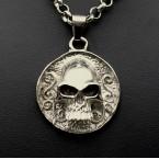 Ocelový přívěsek - Skull Coin