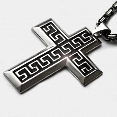 Ocelový přívěsek - Kříž / Meandr Cross / Black (017)