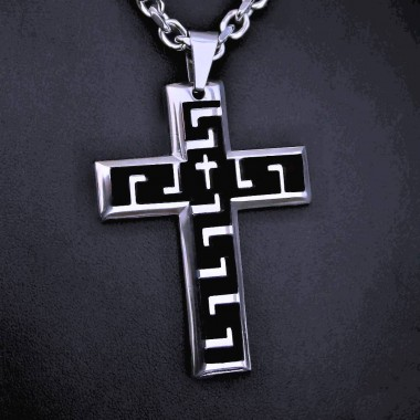 Ocelový přívěsek - Kříž / Shiny / Black / 015 - I