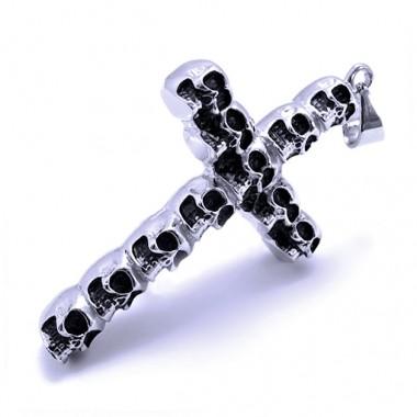 Ocelový přívěsek - Morbid Cross/Skulls
