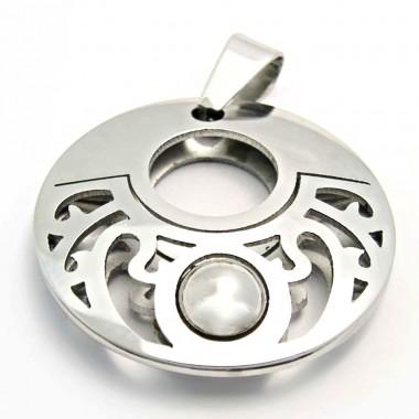 Ocelový přívěsek EXEED - Leštěný Kruh s Kuličkou / Circle / Ball (3414)