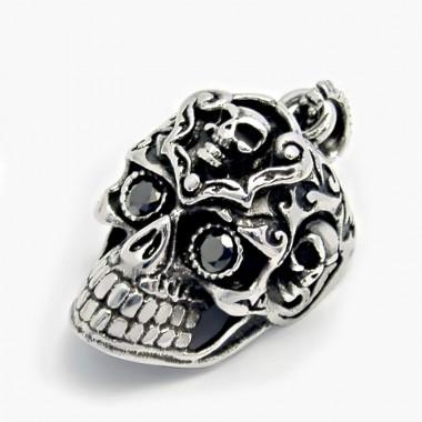 Ocelový přívěsek - Lebka s kameny / Black Eyed Morbid Skull (5740)