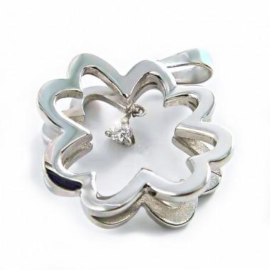 Ocelový přívěsek - Květina s kamenem / Flower / Stone (2882)