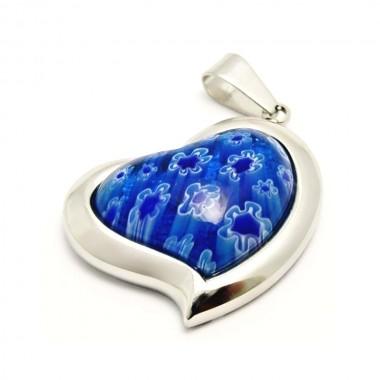 Ocelový přívěsek EXEED - Heart / Blue Fimo (3493)