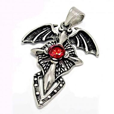 Ocelový přívěsek - Vampire Cross / Red Stone / Kříž